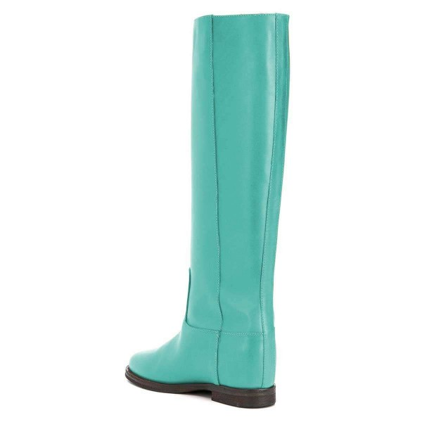 Cyan Studs Flat Long Boots Knee High Boots image 2
