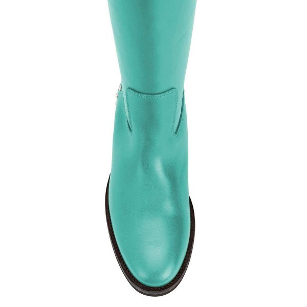 Cyan Studs Flat Long Boots Knee High Boots image 4