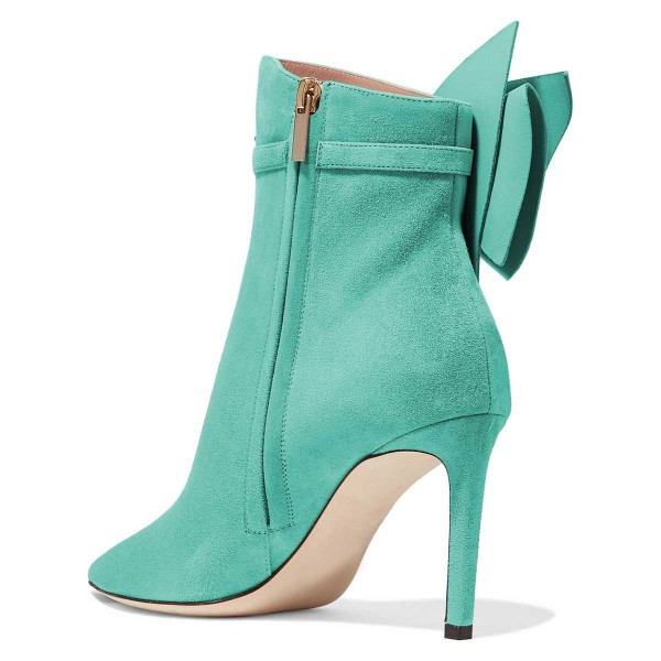 Cyan Suede Bow Stiletto Heel Ankle Booties image 3