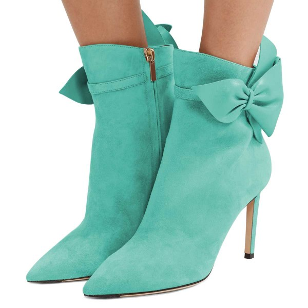 Cyan Suede Bow Stiletto Heel Ankle Booties image 1