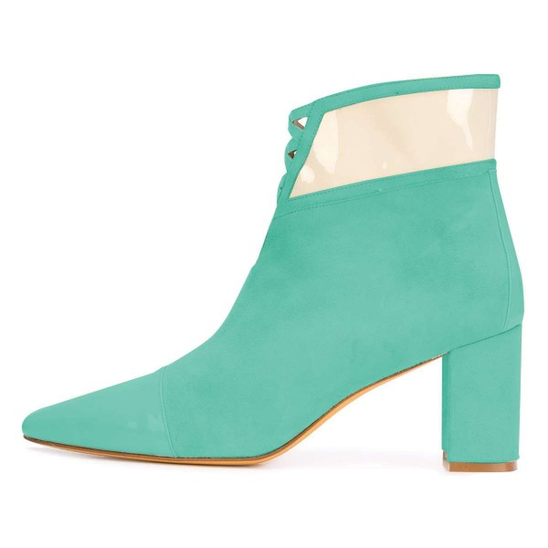 Cyan Suede Chunky Heel Boots Ankle Boots image 3