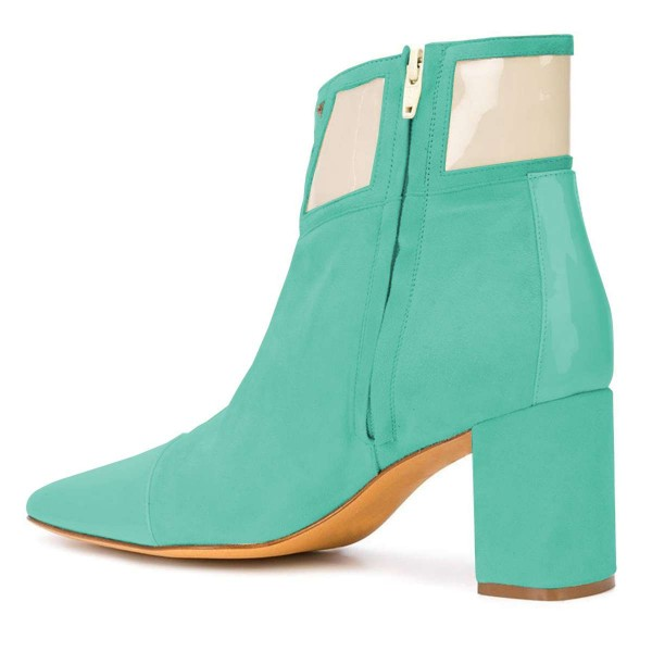 Cyan Suede Chunky Heel Boots Ankle Boots image 2