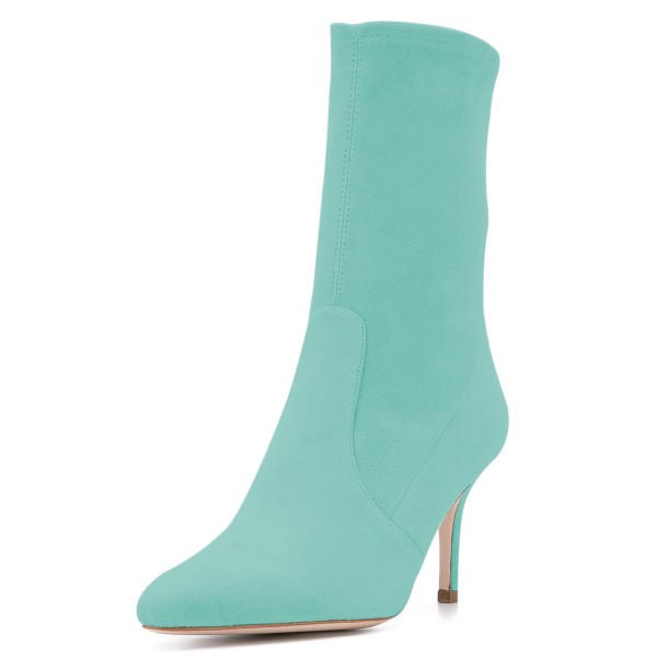 Cyan Suede Fashion Boots Pointy Toe Stiletto Heel Ankle Boots image 1