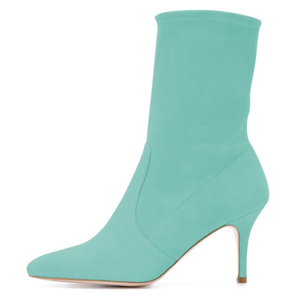 Cyan Suede Fashion Boots Pointy Toe Stiletto Heel Ankle Boots image 3