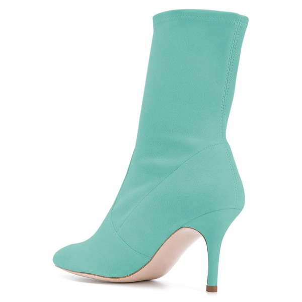 Cyan Suede Fashion Boots Pointy Toe Stiletto Heel Ankle Boots image 4