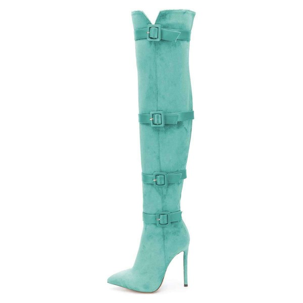 Turquoise Buckle boots Pointy Toe Stiletto Heel Suede Long Boots image 3
