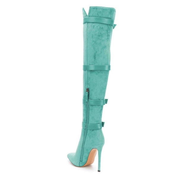 Turquoise Buckle boots Pointy Toe Stiletto Heel Suede Long Boots image 2