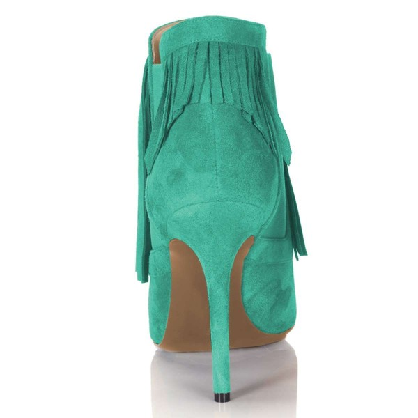 Cyan Suede Fringe Boots Stiletto Heel Chelsea Boots image 2