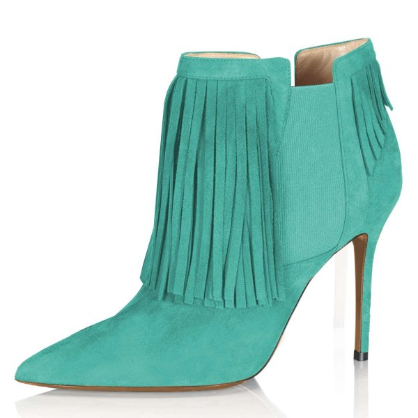 Cyan Suede Fringe Boots Stiletto Heel Chelsea Boots image 1