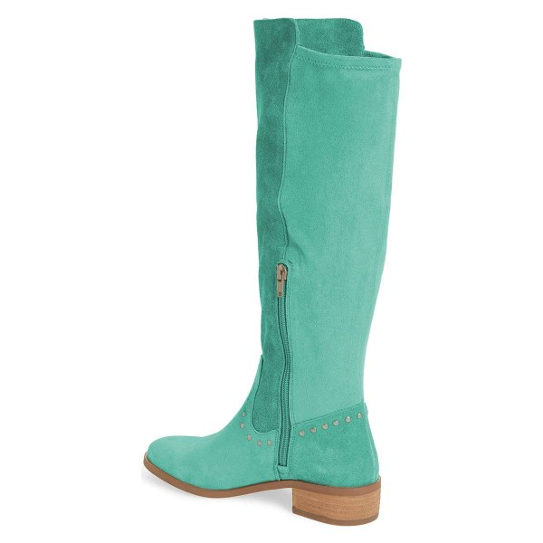 Cyan Suede Studs Knee Boots Knee-high Boots image 4