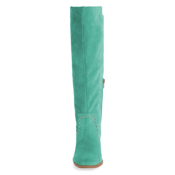Cyan Suede Studs Knee Boots Knee-high Boots image 2