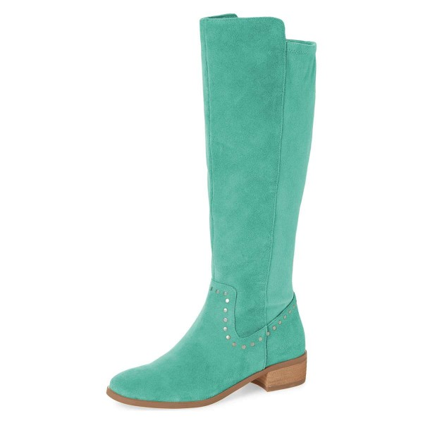 Cyan Suede Studs Knee Boots Knee-high Boots image 1