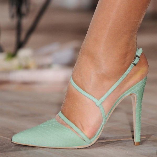 Turquoise Twisted Strap Slingback Heels Pointy Toe Stiletto Heel Pumps image 1
