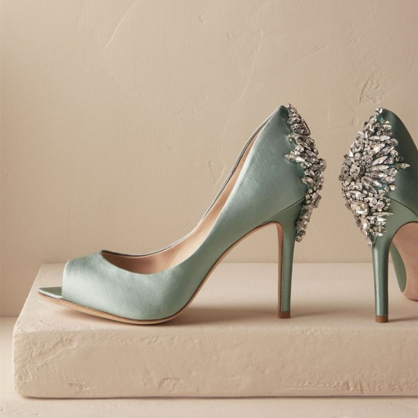Cyan Wedding Shoes Satin Peep Toe Rhinestone Stiletto Heels Pumps image 1