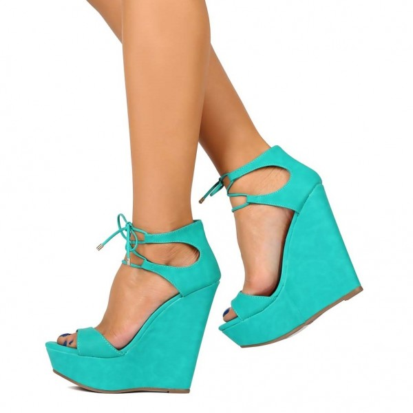 861a7f42547 ... Turquoise Wedge Sandals Open Toe Platform Suede Front Lace up Sandals  image 3 ...