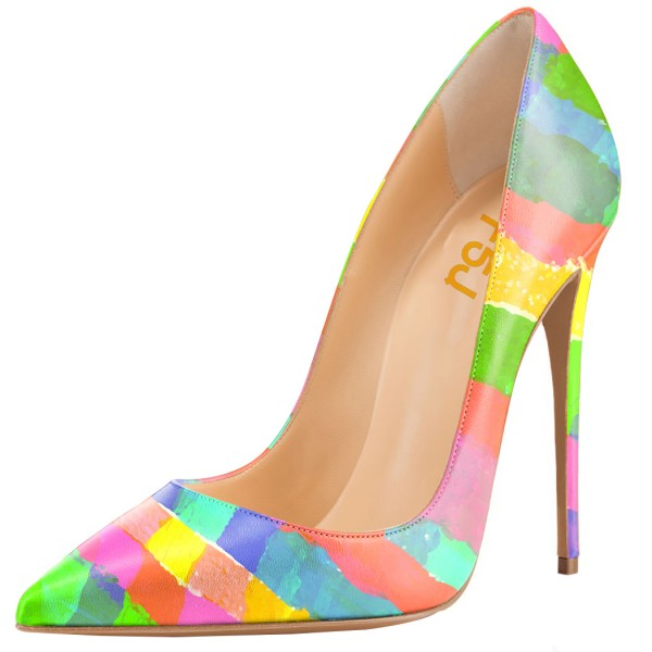 Multicolored Rainbow Stiletto Heels Pointed Toe Pumps image 1