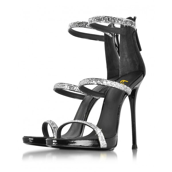 Women's Sliver Glitter Stiletto Heel Gladiator Sandals image 1