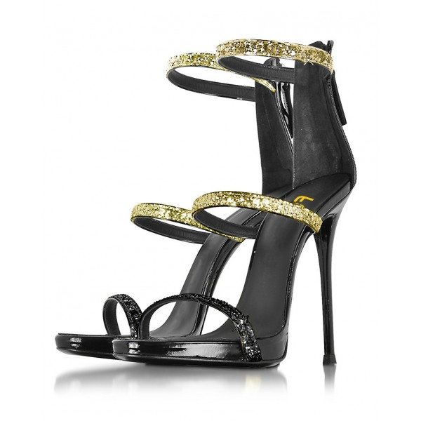 Women's Golden and Black Glitter Stiletto Heel Gladiator Sandals image 1