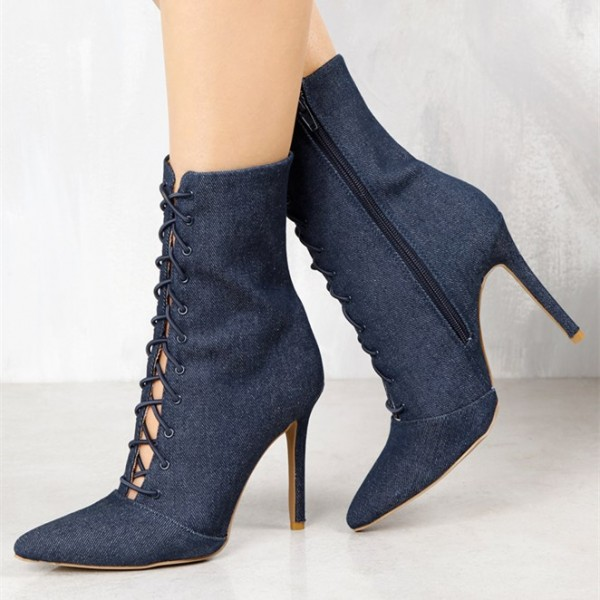 Women's Navy Denim Lace up Boots Pointy Toe Stiletto Heel Booties  image 1