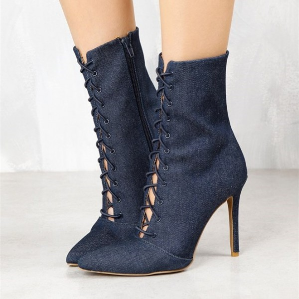 Women's Navy Denim Lace up Boots Pointy Toe Stiletto Heel Booties  image 2