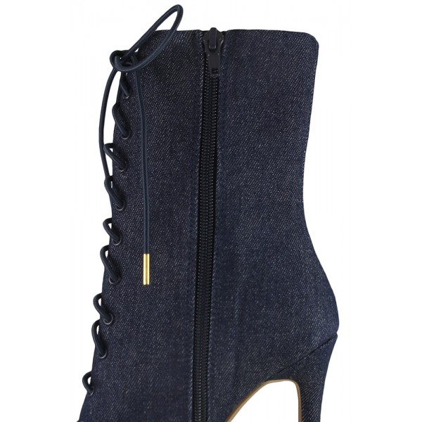 Women's Navy Denim Lace up Boots Pointy Toe Stiletto Heel Booties  image 3