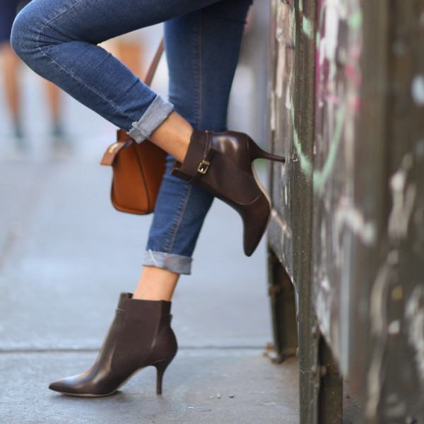 Women's Dark Brown Chelsea Boots Pointy Toe Ankle Booties by FSJ image 1