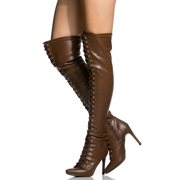 Dark Brown Long Boots Stiletto Heels Lace up Over-the-knee Boots image 1
