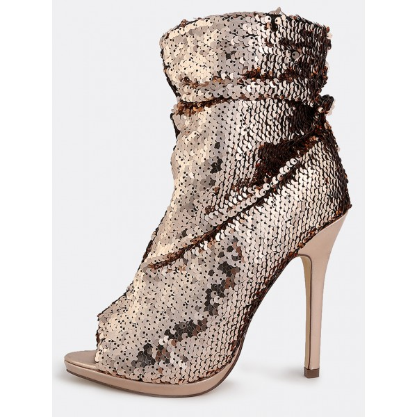 Dark Champagne Sequin Boots Peep Toe Stiletto Heel Party Slouch Boots image 6