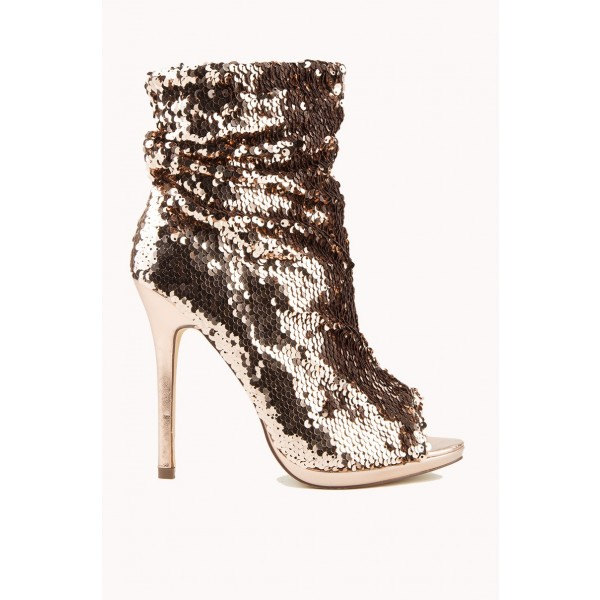Dark Champagne Peep Toe Booties Sequined Stiletto Heel Slouch Boots image 4
