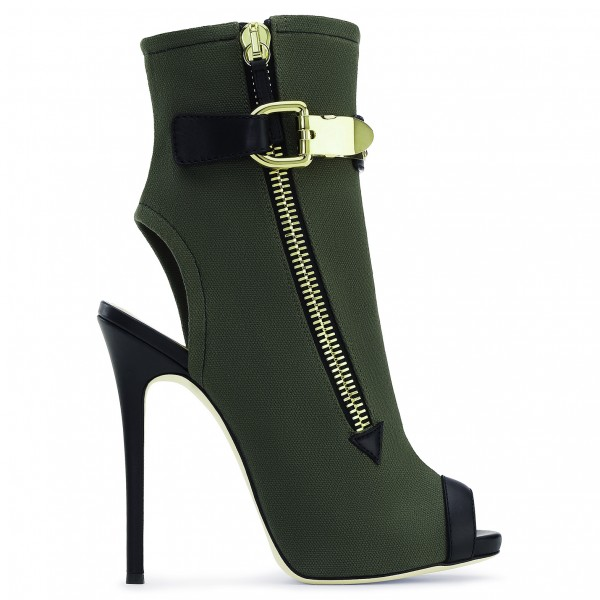 Dark Green Slingback Shoes Peep Toe Suede Stiletto Boots Ankle Booties image 3