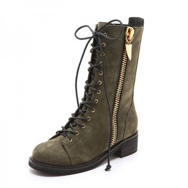 Dark Green Combat Boots Lace up Round Toe Ankle Boots by FSJ image 1