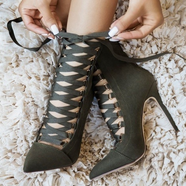 Olive Green Ankle Booties Suede Stiletto Heels Lace up Boots image 1