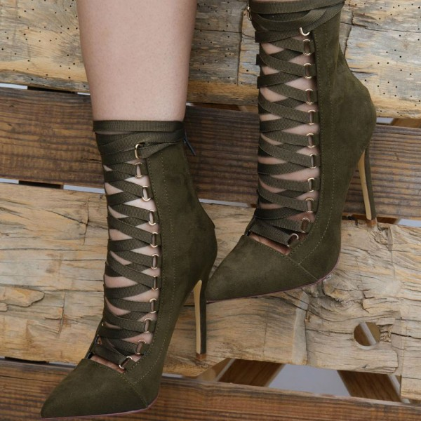 Olive Green Ankle Booties Suede Stiletto Heels Lace up Boots image 4