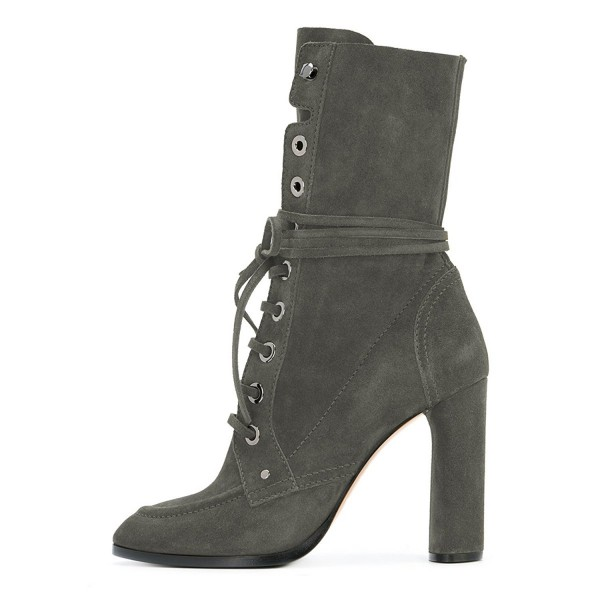Grey Suede Lace up Boots Round Toe Chunky Heel Mid Calf Boots image 3