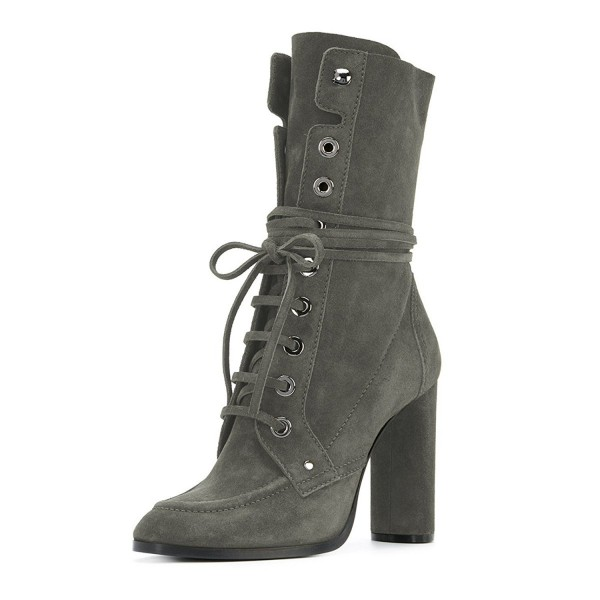 Grey Suede Lace up Boots Round Toe Chunky Heel Mid Calf Boots image 1