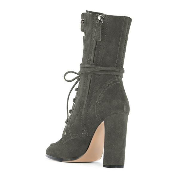 Grey Suede Lace up Boots Round Toe Chunky Heel Mid Calf Boots image 4