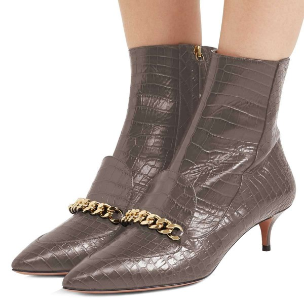 Dark Grey Kitten Heel Boots Pointy Toe Chains Ankle Booties image 1