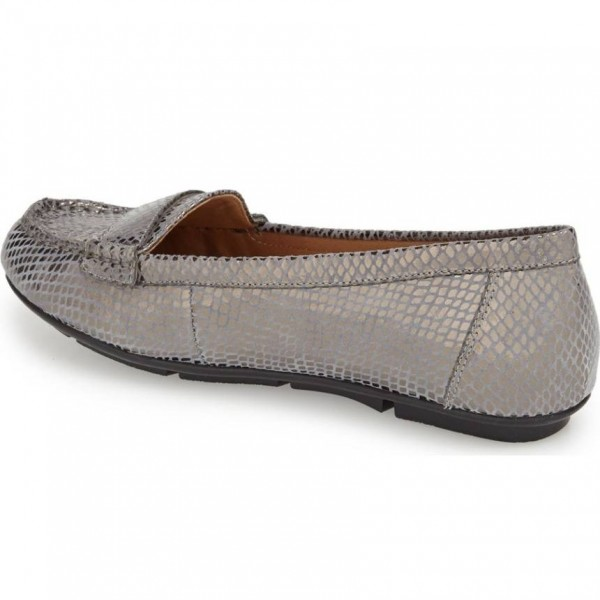 Dark Grey Python Loafers for Women Comfortable Flats image 2