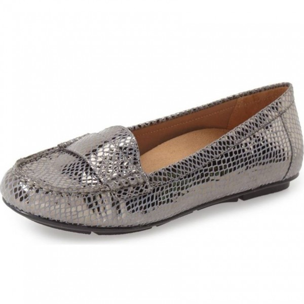 977ac4b1895 Dark Grey Python Loafers for Women Comfortable Flats for Work ...