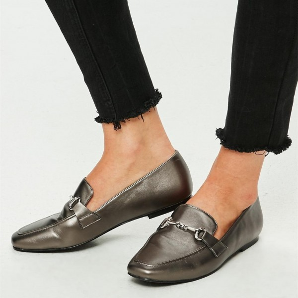 Dark Grey Square Toe Flats Office Shoes