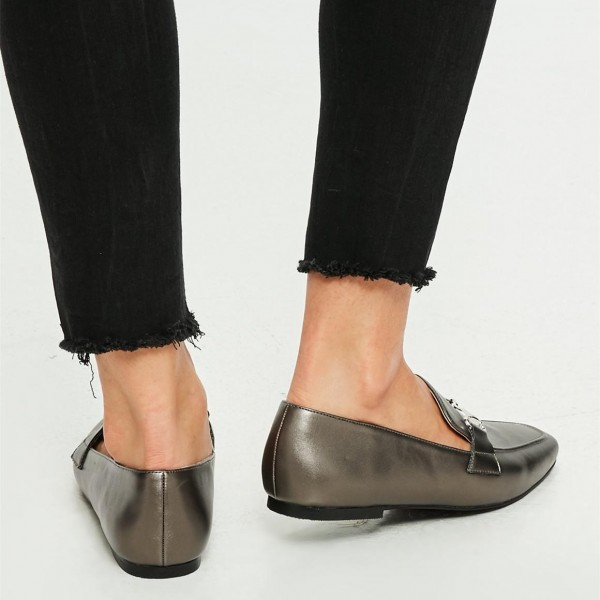 Dark Grey Square Toe Flats Office Shoes Loafers for Women image 2