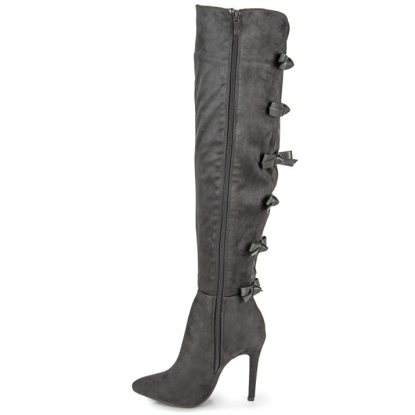 Dark Grey Suede Bow Long Boots Pointy Toe Over-the-knee Stiletto Boots image 2