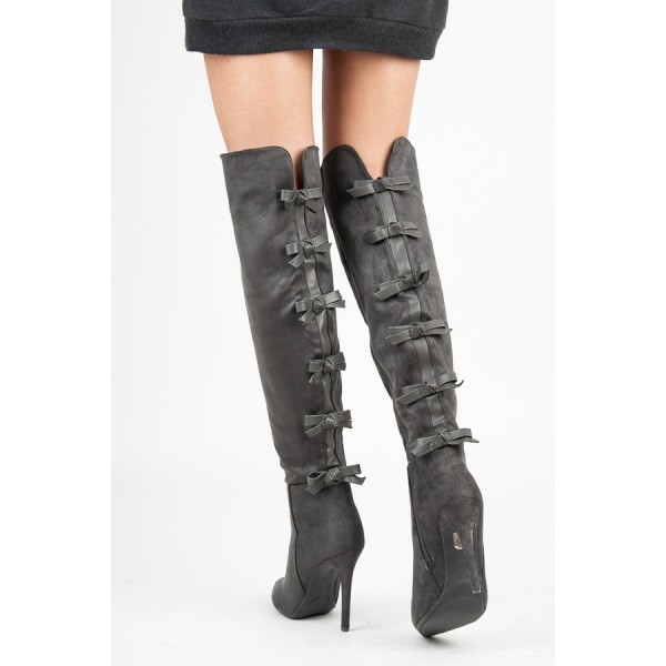 Dark Grey Suede Bow Long Boots Pointy Toe Over-the-knee Stiletto Boots image 3