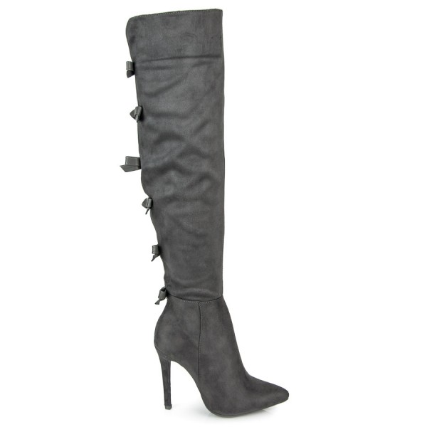 Dark Grey Suede Bow Long Boots Pointy Toe Over-the-knee Stiletto Boots image 5
