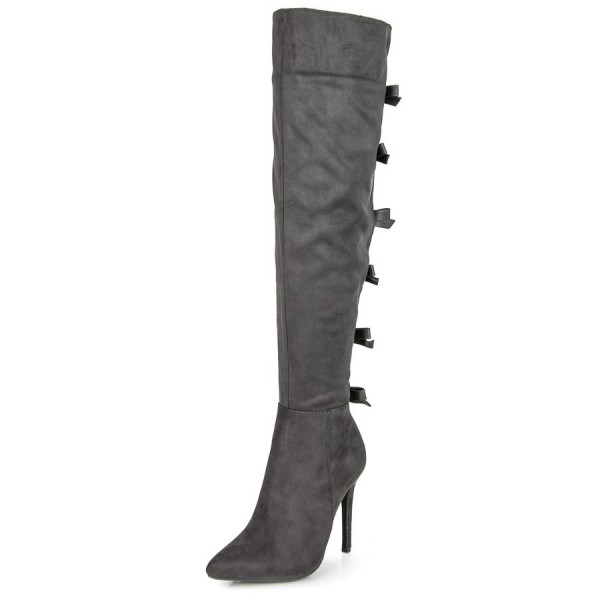 Dark Grey Suede Bow Long Boots Pointy Toe Over-the-knee Stiletto Boots image 1
