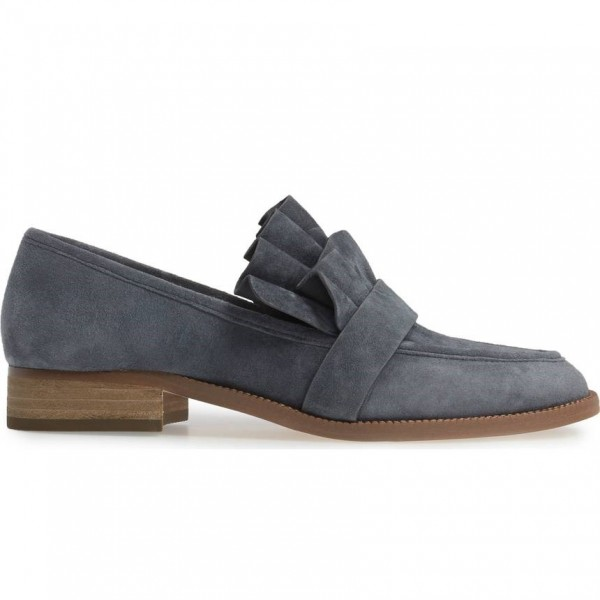 Dark Grey Suede Frill Flats Round Toe Loafers for Women image 2