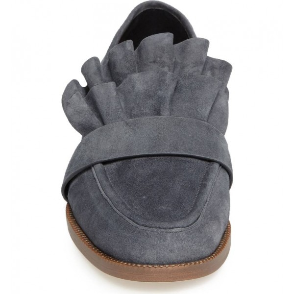 Dark Grey Suede Frill Flats Round Toe Loafers for Women image 3