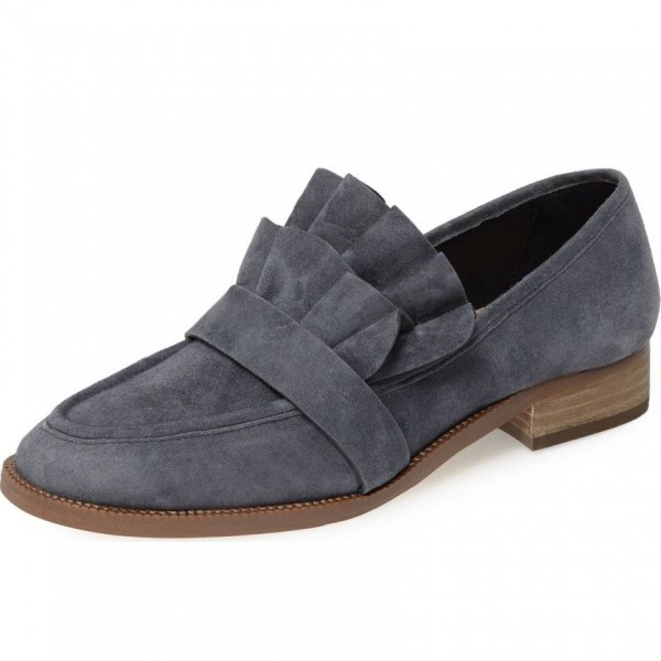 Dark Grey Suede Frill Flats Round Toe Loafers for Women image 1