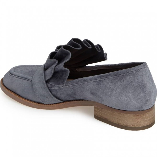 Dark Grey Suede Frill Flats Round Toe Loafers for Women image 4