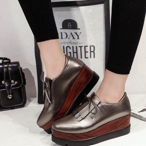 Dark Grey Vintage Shoes Platform Shoes for School image 1